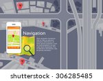 phone application city map... | Shutterstock .eps vector #306285485