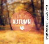 Blurred Retro Card With Autumn...
