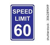 speed limit sign  blue | Shutterstock .eps vector #306289049