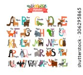 alphabet with zoo animals | Shutterstock .eps vector #306295865