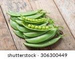 Pile Of Snow Peas On Wood...