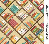 seamless pattern with books on... | Shutterstock .eps vector #306307985
