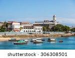 beautiful blue sea in stone... | Shutterstock . vector #306308501