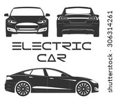silhouette of electric car.... | Shutterstock .eps vector #306314261