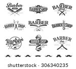 typographic barber shop emblems | Shutterstock .eps vector #306340235