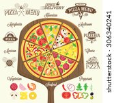 pizza menu  labels and design... | Shutterstock .eps vector #306340241