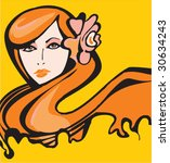 vector spring girl | Shutterstock .eps vector #30634243