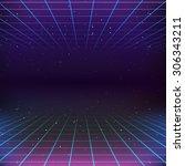 80s retro sci fi background | Shutterstock . vector #306343211