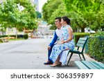 young romantic asian couple... | Shutterstock . vector #306359897