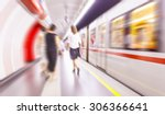 people on train station motion... | Shutterstock . vector #306366641
