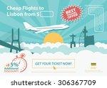 flat design travel banner  ... | Shutterstock .eps vector #306367709