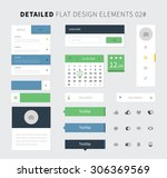 set of flat design ui kit for...