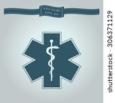 medical symbol of the emergency ... | Shutterstock .eps vector #306371129