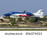 Small photo of Luqa, Malta August 14, 2015: Luxembourg Air Ambulance Learjet 35A/ZR on finals for runway 31.