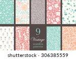 vector vintage floral elegant 9 ... | Shutterstock .eps vector #306385559