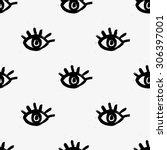 seamless hand drawn pattern... | Shutterstock .eps vector #306397001