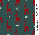 seamless pattern with deers ... | Shutterstock .eps vector #306397355