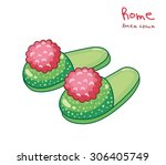 green home slippers with... | Shutterstock .eps vector #306405749