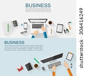 business workplace concept flat ... | Shutterstock .eps vector #306416249