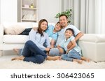 indoor portrait of asian family | Shutterstock . vector #306423065