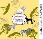 background with savanna animals.... | Shutterstock .eps vector #306427889