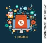 e commerce concept design on... | Shutterstock .eps vector #306431069