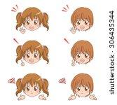 girl face  | Shutterstock .eps vector #306435344