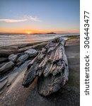 Sunrise With Large Driftwood On ...