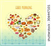 breakfast poster good morning | Shutterstock .eps vector #306447101