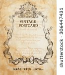 vintage postcard background... | Shutterstock .eps vector #306447431