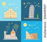 flat design italy landmarks set ... | Shutterstock .eps vector #306449507