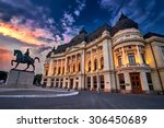 Bucharest at Sunset. Calea Victoriei, National Library