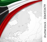kuwait flag of silk with... | Shutterstock . vector #306453479