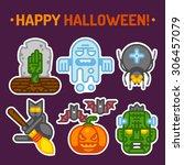 happy halloween. vector flat...   Shutterstock .eps vector #306457079