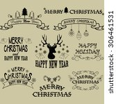 merry christmas border frames... | Shutterstock .eps vector #306461531
