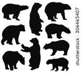 bear silhouettes on white...   Shutterstock .eps vector #306465407