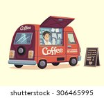 coffee van. hot drinks on... | Shutterstock .eps vector #306465995