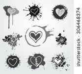 vector hand drawn hearts in... | Shutterstock .eps vector #306468374