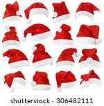 set of red santa claus hats... | Shutterstock . vector #306482111