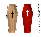 set of coffins. red beautiful...   Shutterstock .eps vector #306482825