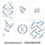 set of gentle wedding cards  ... | Shutterstock .eps vector #306484049