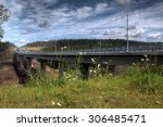Saint Petersburg, Russia - August 7, 2015: Overpass speed highway in a conservation area in Leningrad region, the route St. Petersburg - Sortavala, steel bridge crosses river Smorodinka. - stock photo