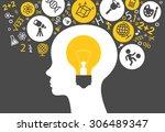 the concept of modern education.... | Shutterstock .eps vector #306489347