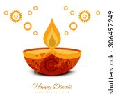 beautiful diwali greeting card... | Shutterstock .eps vector #306497249