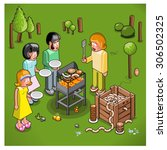 barbecue cook about about to... | Shutterstock .eps vector #306502325