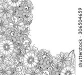 zentangle doodle floral... | Shutterstock .eps vector #306504659