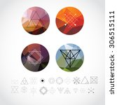 abstract geometric patterns set ... | Shutterstock .eps vector #306515111