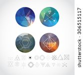abstract geometric patterns set ... | Shutterstock .eps vector #306515117