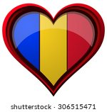 romania flag on a glossy heart... | Shutterstock .eps vector #306515471