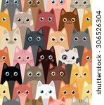 Stock vector cats cartoon vector seamless wallpaper 306526304
